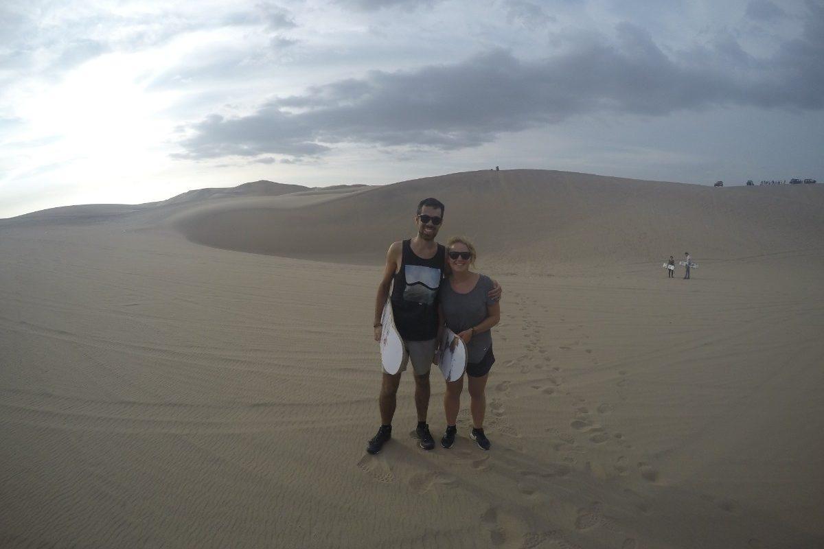 Huaccachina Ica Peru Südamerika Wüste Sand  Aussicht Sandboarding
