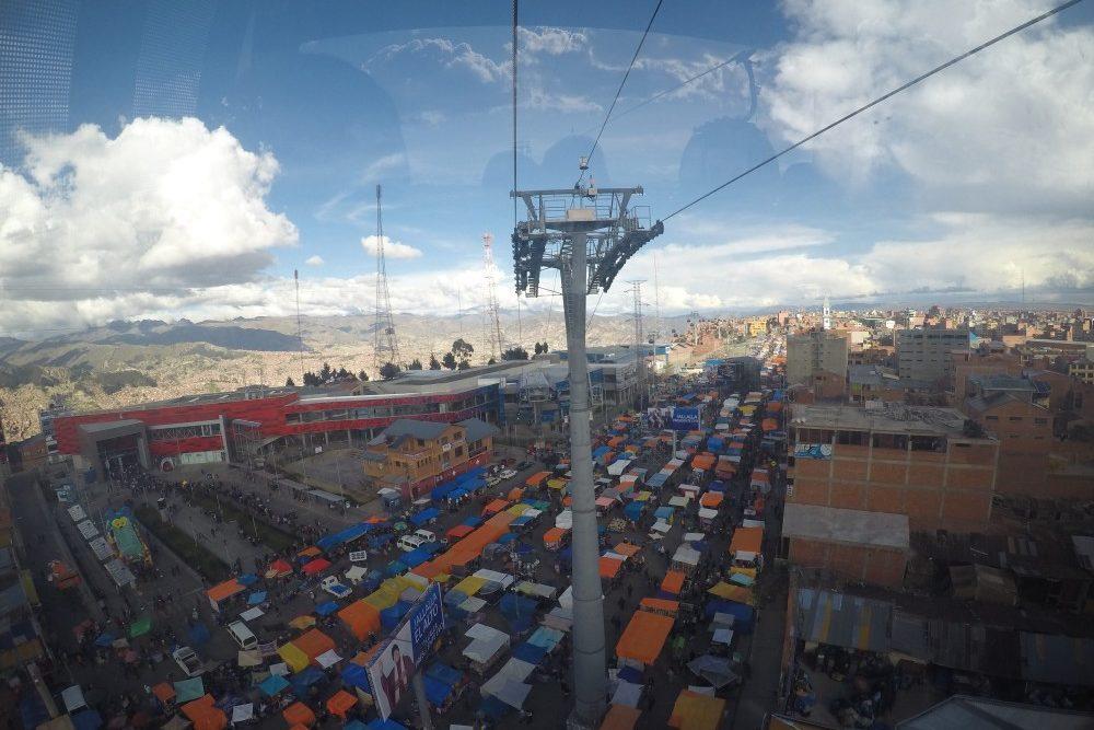 El Alto Markt La Paz Größter Markt Südamerikas Stände Seilbahn Aussicht