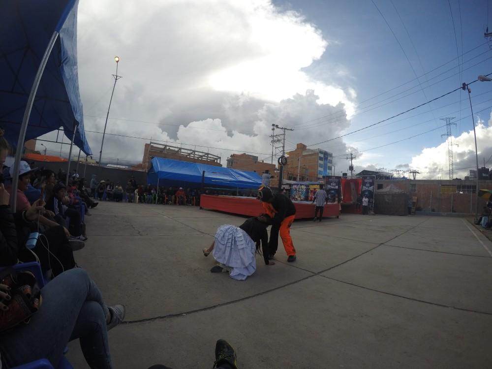 Cholita Wrestling El Alto La Paz Kampf Ringen Wrestling Schauspiel Lustig In Aktion