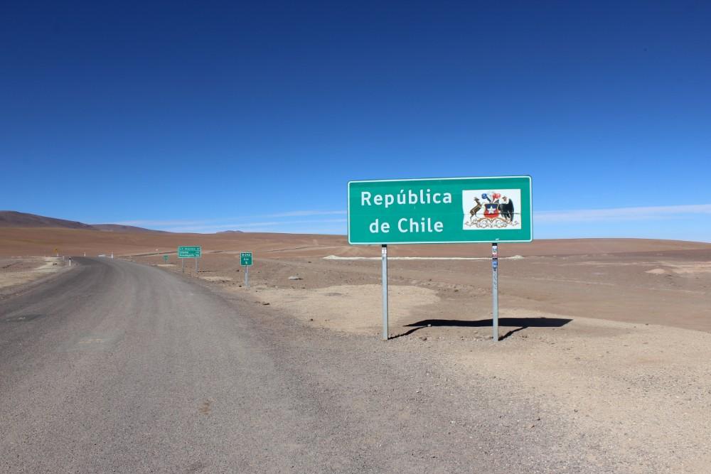 Republik Chile Schild Grenze Straße Südamerika