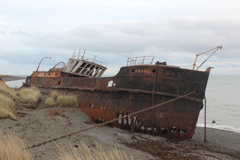 Schiff Gestrandet Feuerland Chile Patagonien Süden Südamerika