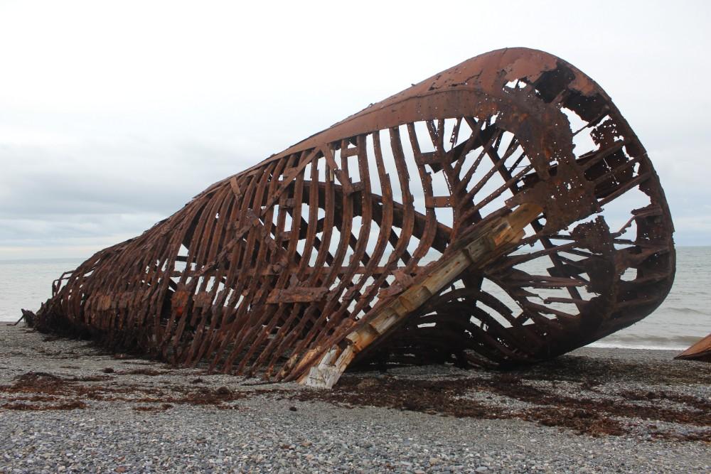 Schiff Rumpf Wrack Feuerland Chile Patagonien Süden Südamerika