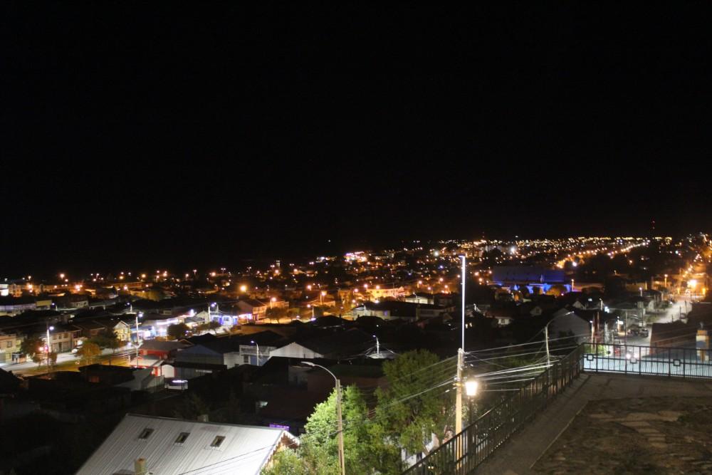 Punta Arenas Nacht Lichter Aussicht Chile Patagonien Süden Südamerika