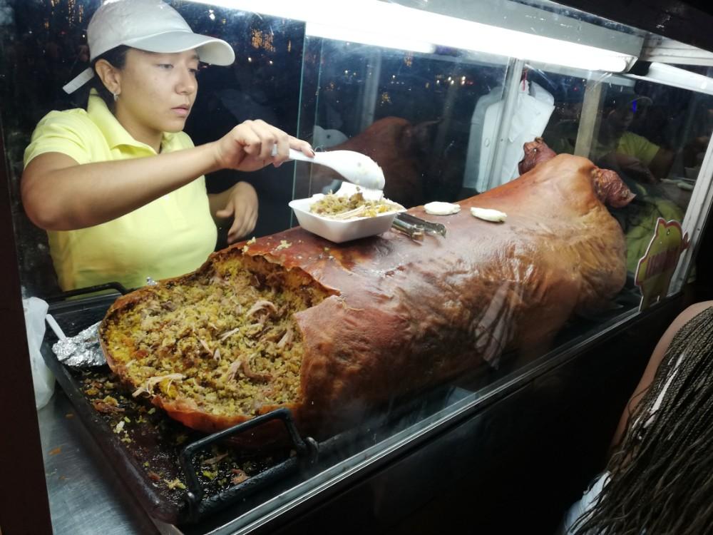 Essen Weihnachtsmarkt Reis Schwein