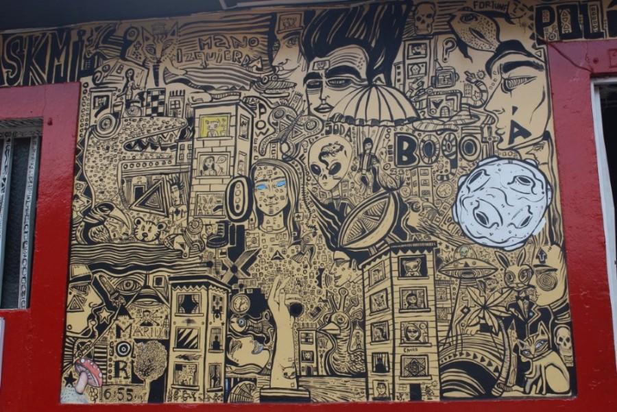 Bogotá Graffiti Gebäude Schwarz Weiß