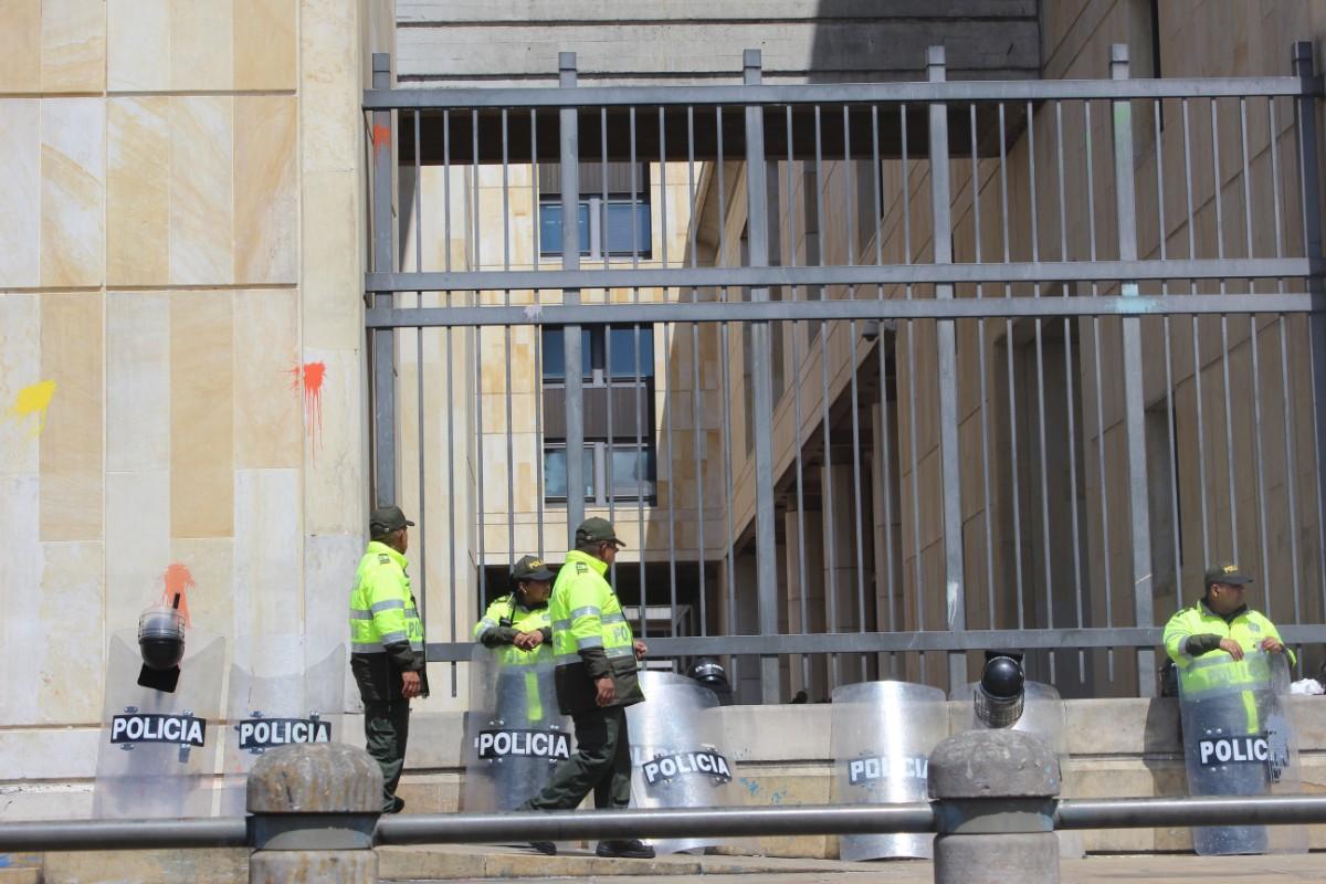Sicherheitskräfte für die Demonstration