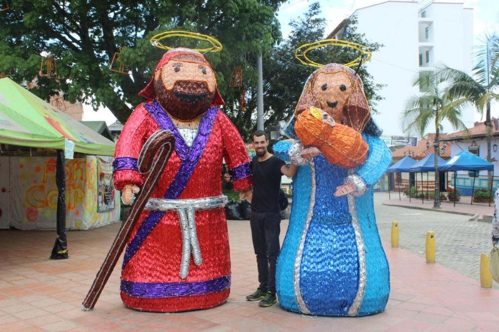 Weihnachten Maria und Josef Bunt Figuren