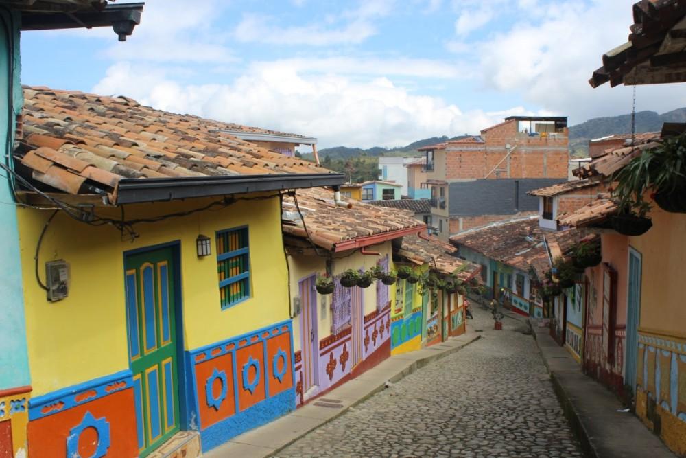 Bunt Häuser Straße Guatape