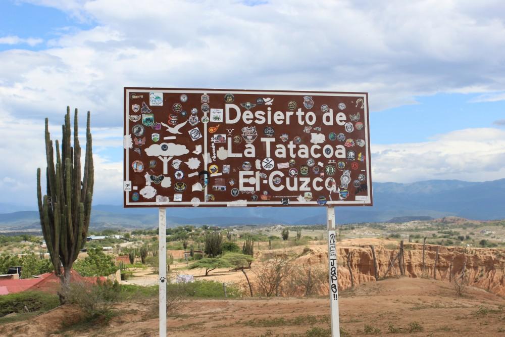 Tatacoa Wüste Eingang Schild