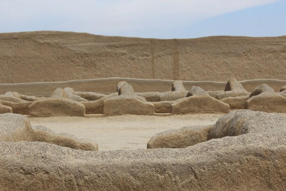 Chan Chan Schnitzereien Schlamm Kunst Mauer Indigen Alt Antik Chimu