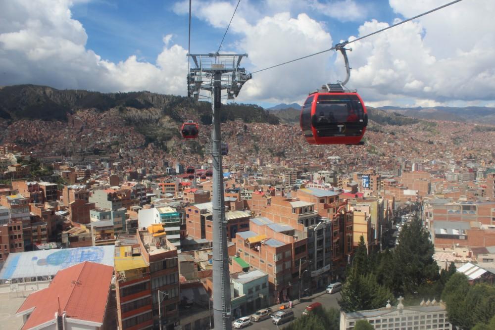 La Paz Aussicht Stadt Hauptstadt Südamerika Bolivien Seilbahn