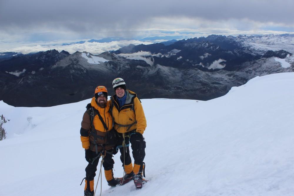 Huayana Potosi Wandern Bergsteigen 6000er La Paz Bolivien Südamerika Abstieg Aussicht