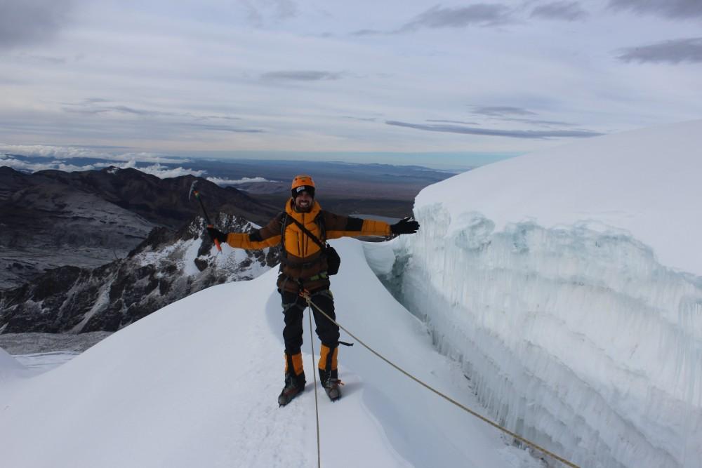 Huayana Potosi Wandern Bergsteigen 6000er La Paz Bolivien Südamerika Abstieg Aussicht Gletscherspalte