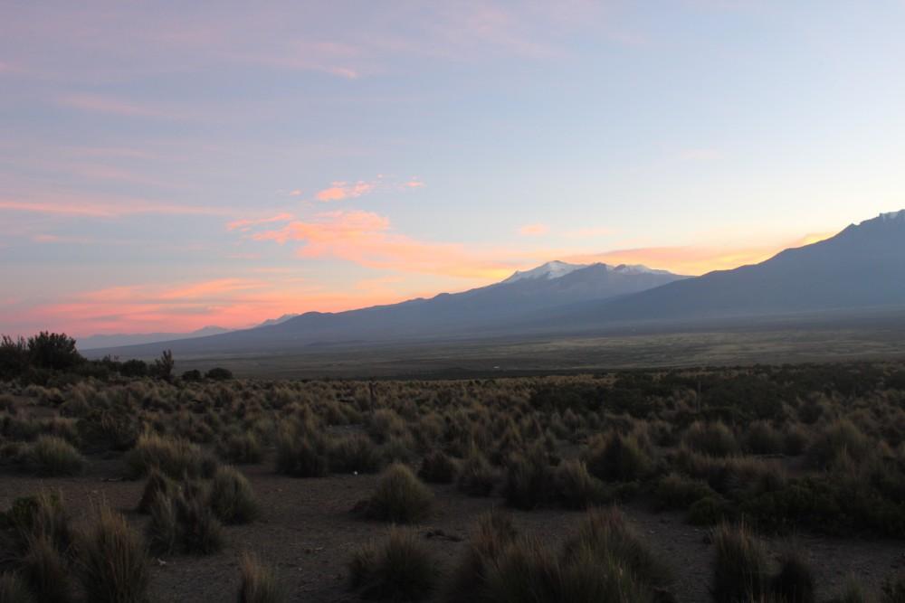 Sajama Nationalpark Natur Sajama Berg Gipfel Höchster Berg Boliviens Südamerika Wanderung Sonnenuntergang