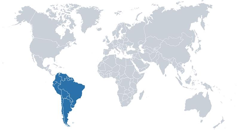 Weltkarte Südamerika