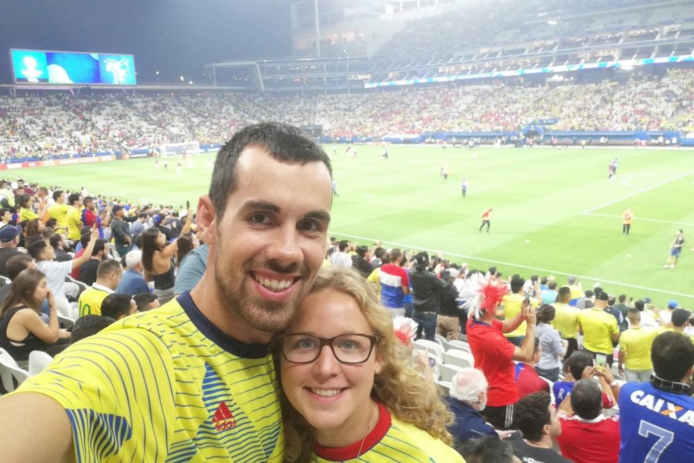 stadion fussball copa america viertelfinale kolumbien chile selfie sao paulo brasilien suedamerika